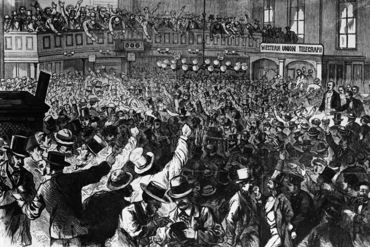 Panic on 'Black Friday' in the New York Gold Room, 1869.