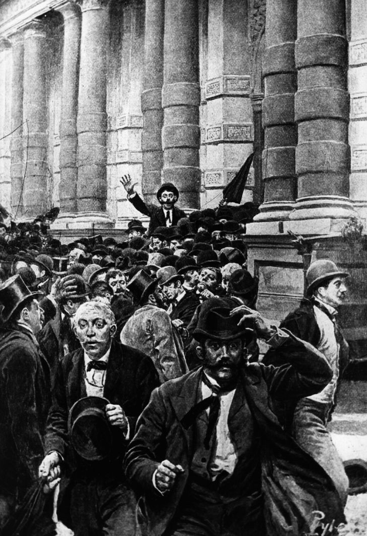 The 1873 rush from the New York Stock Exchange as banks began to fail and close, leading to a 10-day closure of the Stock Exchange.