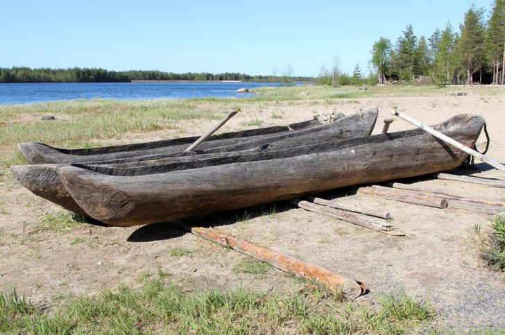 Dugout boats at Kierikki Stone Age Centre