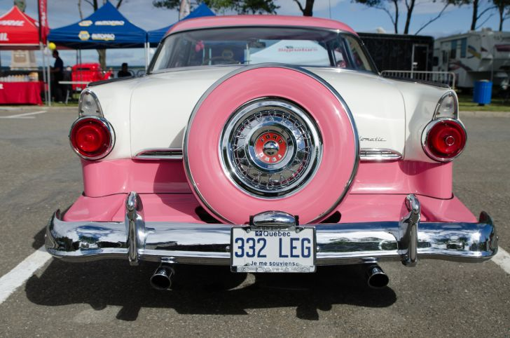 Spare tire on a classic car.