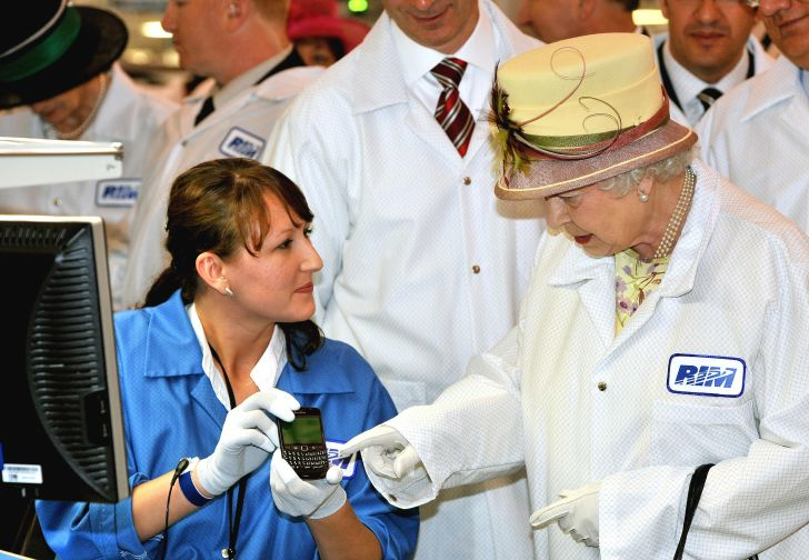 Queen Elizabeth II tours a Canadian Blackberry factory in 2010.