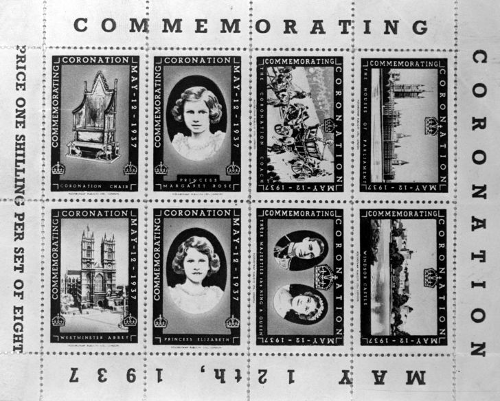 Stamps from 1937 featuring Princesses Elizabeth and Margaret Rose, The Coronation Chair, Westminster Abbey, The Coronation Coach, The Houses of Parliament, Windsor Castle, King George VI and Queen Elizabeth to commemorate the King's Coronation.