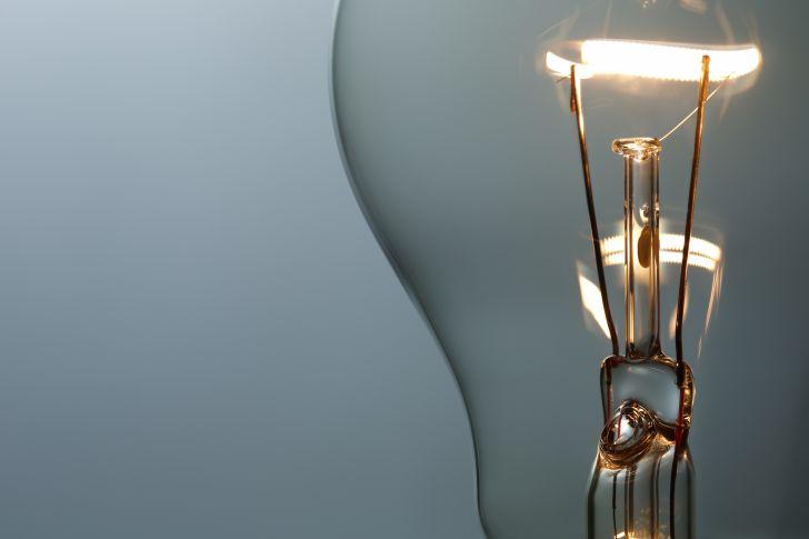 A close-up of a shining light bulb