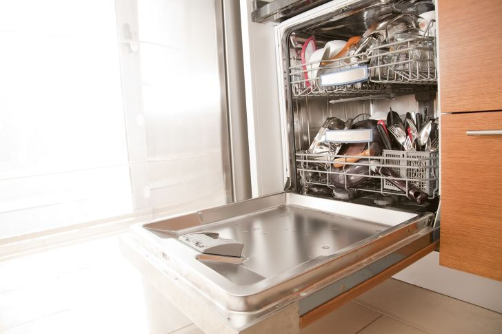 A dishwasher with its door open