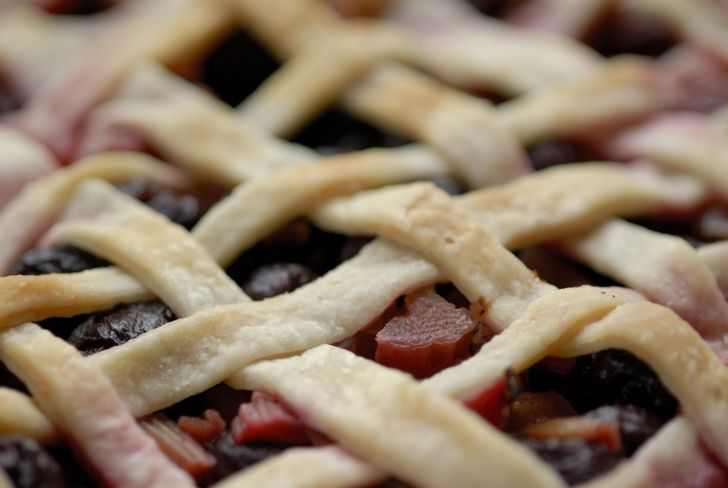 Close-up of a blueberry rhubarb pie.