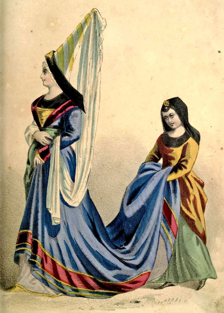 Illustration of a French woman wearing a hennin in the 15th century.