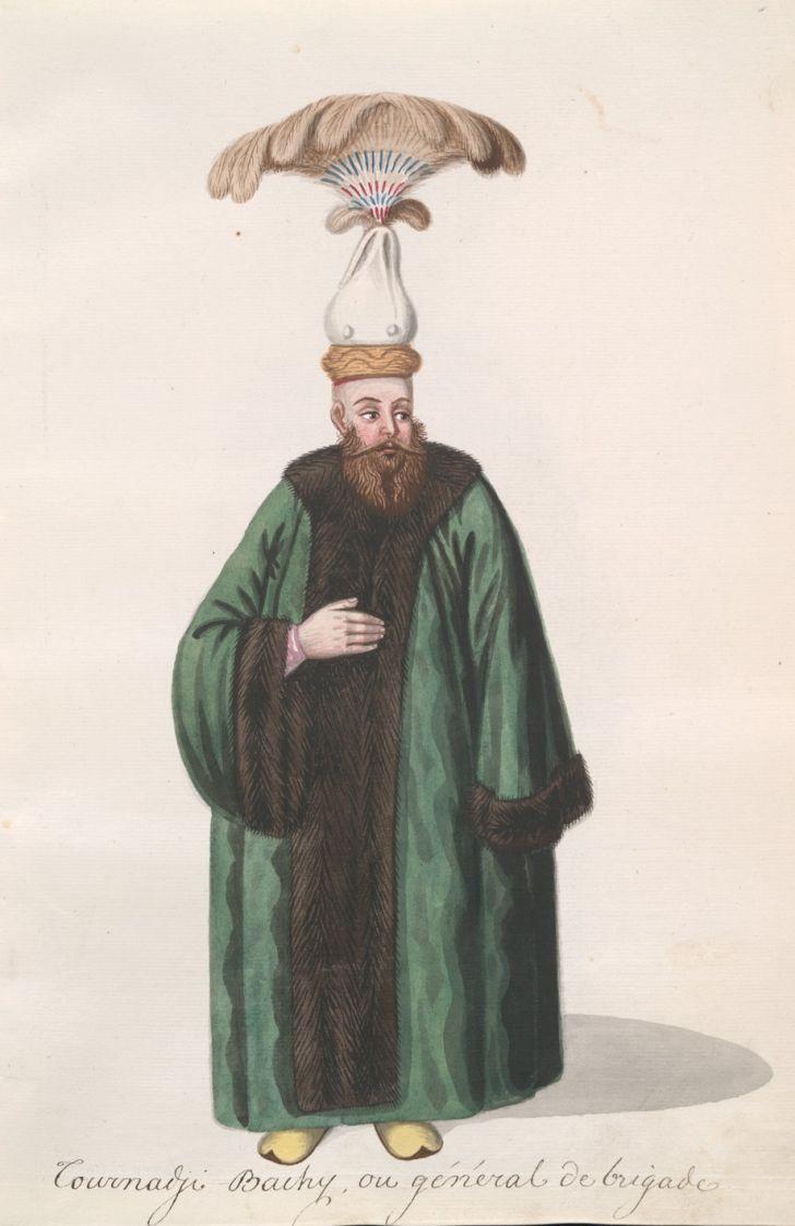 A drawing of a man wearing an Ottoman headdress.