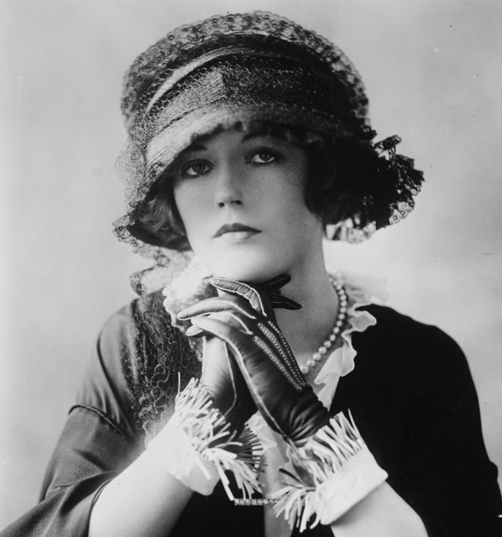 Actress Marion Davies in a peach basket hat.