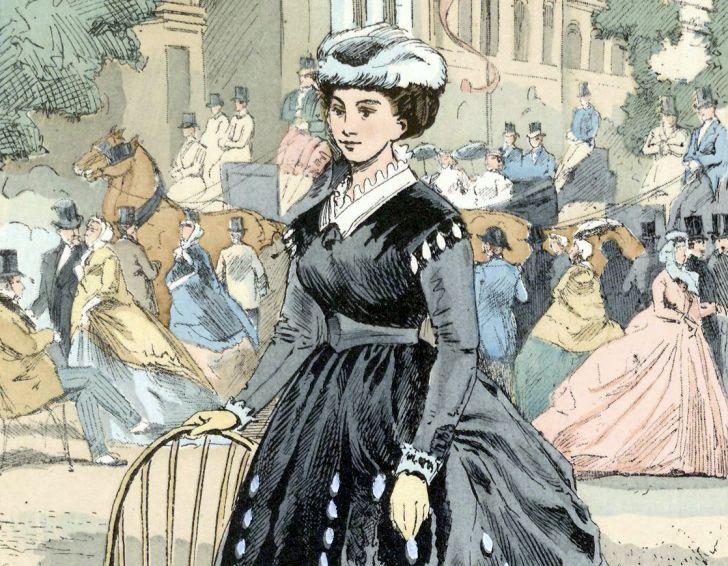 Illustration of Victorian woman.