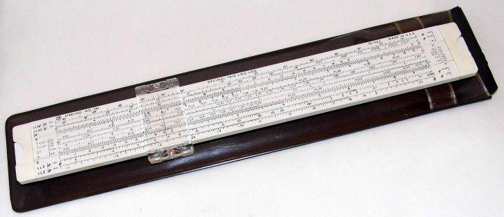 Image of a vintage log log slide rule.