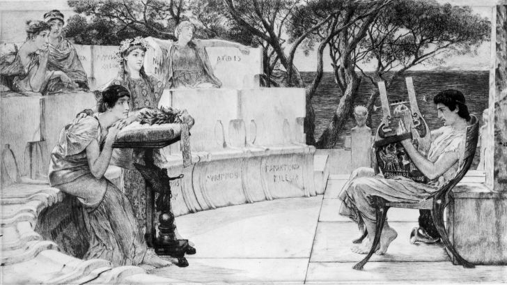 Circa 597 BC, An engraving of the Greek poetess Sappho (650 - c.590 BC) by Charles Oliver Murray.