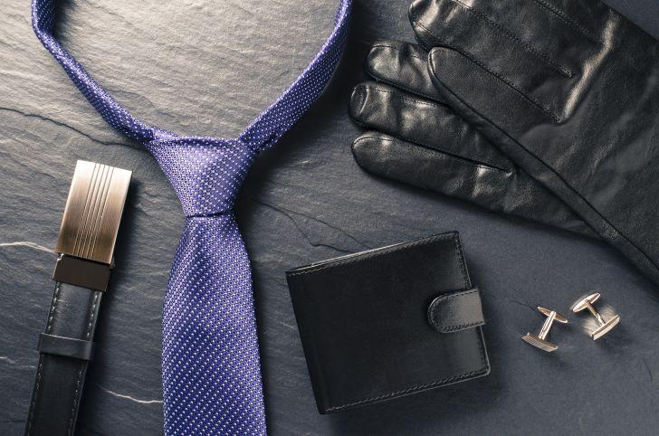 tie, wallet, cufflinks, belt, and gloves