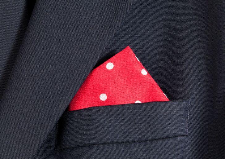 handkerchief in breast pocket