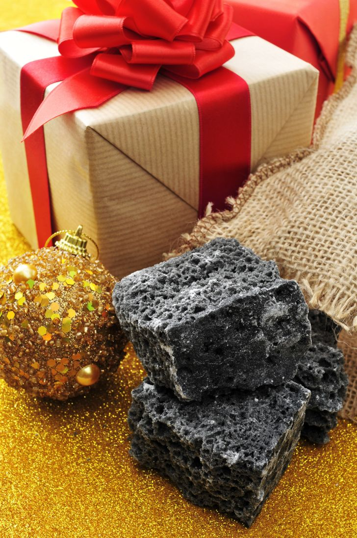 coal, gift, and christmas ornament