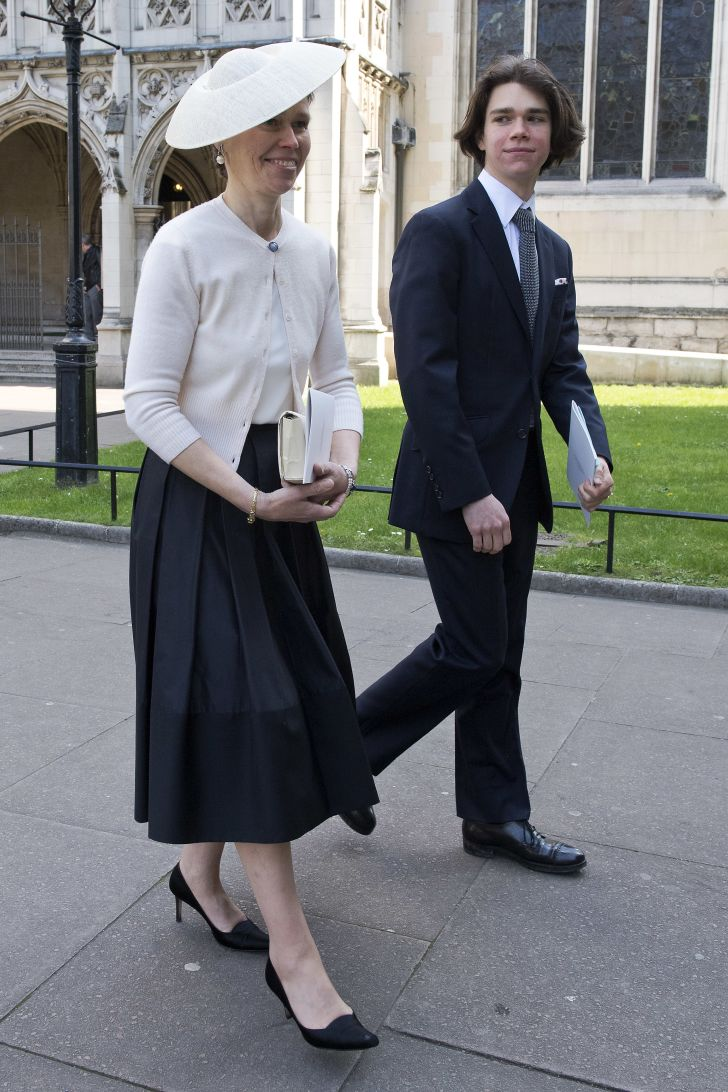 Lady Sarah Chatto (L) and her son Samuel Chatto (R) leave a Service of Thanksgiving for the life and work of Lord Snowdon at Westminster Abbey on April 7, 2017 in London, United Kingdom