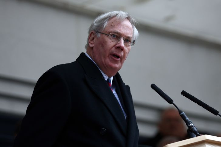 Prince Richard, Duke of Gloucester makes a speech during the unveiling ceremony of London's first public memorial to the Korean War on December 3, 2014 in London, England