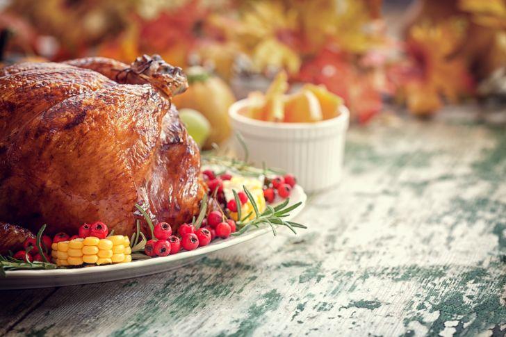 A roasted turkey on a platter.