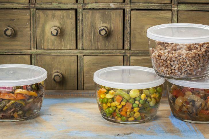 Bowls of leftover food.