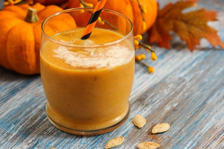 Glass of pumpkin smoothie.