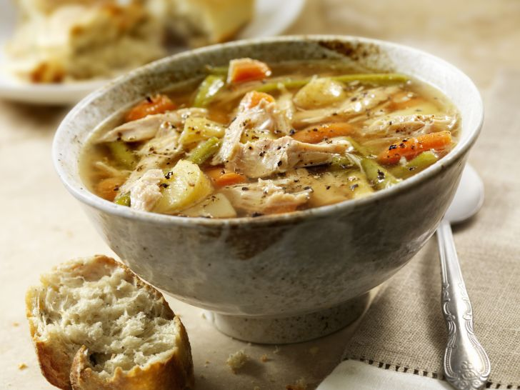 Bowl of turkey soup.