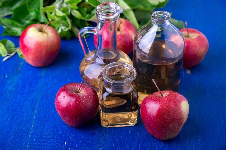 Jars of apple vinegars.