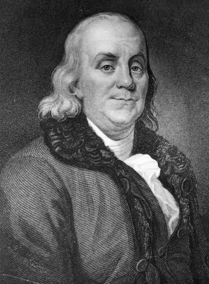 A drawing of Ben Franklin.