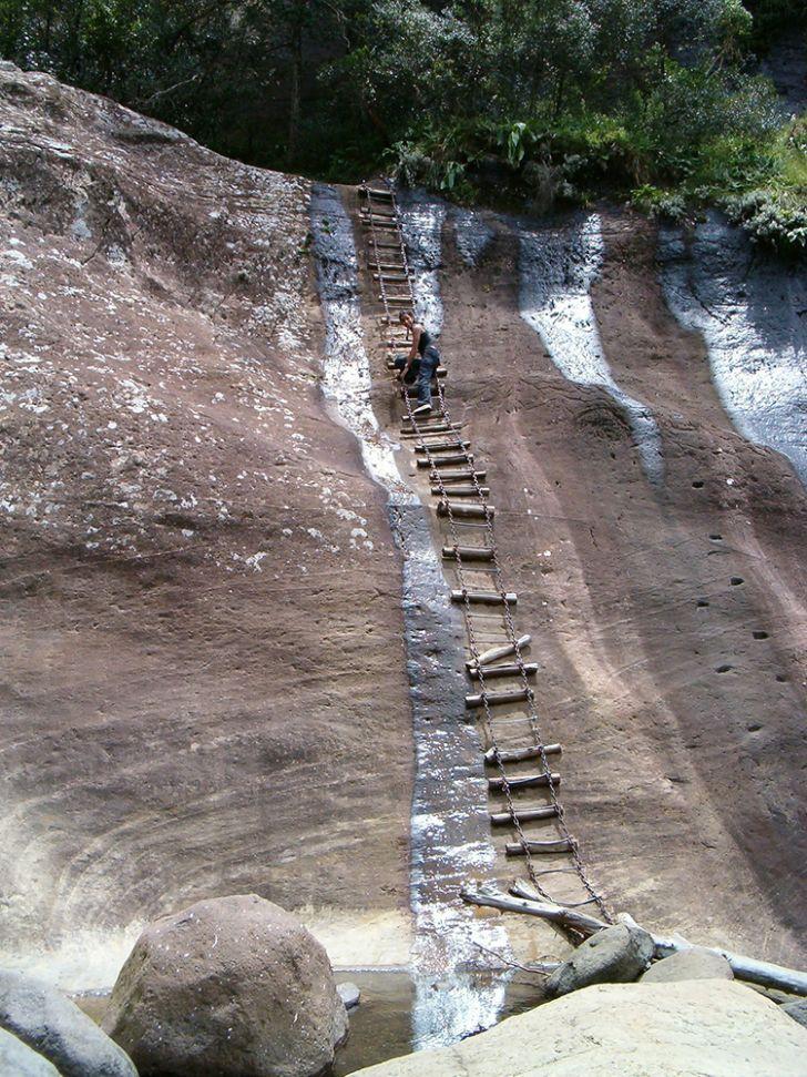 ladder in drakensberg mountains