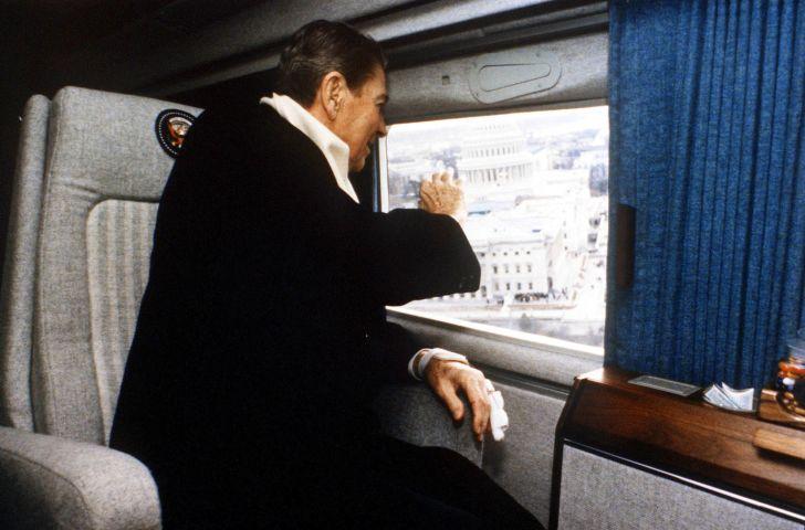 President Reagan waves goodbye