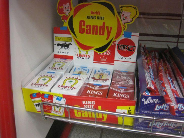 A carton of candy cigarettes.
