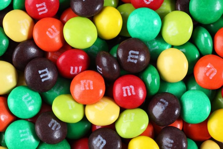 A pile of M&Ms candies.