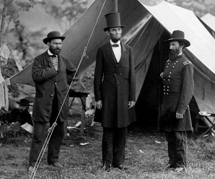 Abraham Lincoln in Top Hat During Civil War