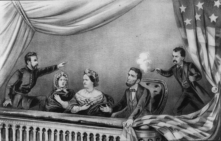 A lithograph of Abraham Lincoln's Assassination.