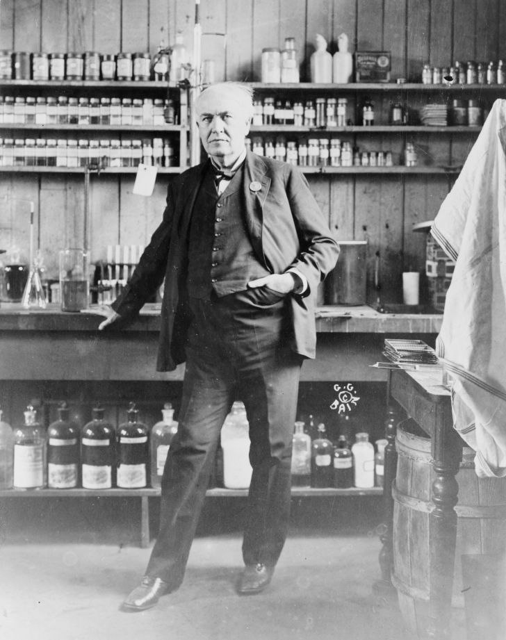 A picture of Thomas Edison in a laboratory.
