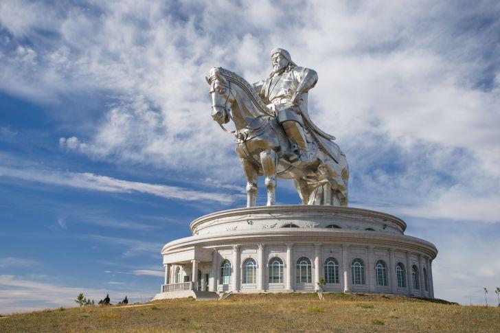Statue of Genghis Khan on horseback in Ulaanbaatar, Mongolia.