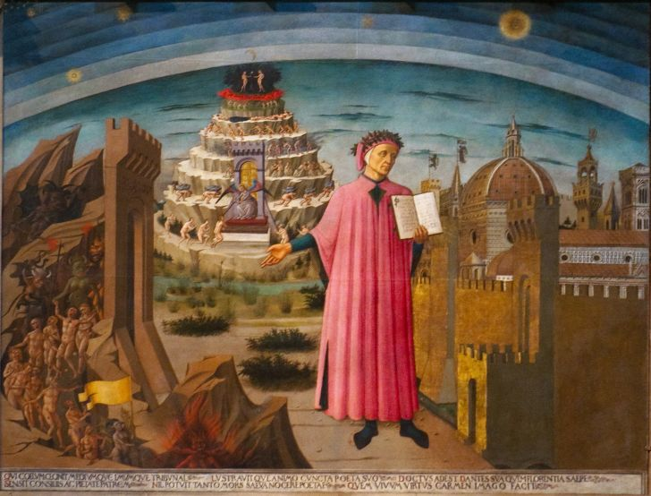 A panting on Dante Alighieri, author of The Divine Comedy and Inferno.