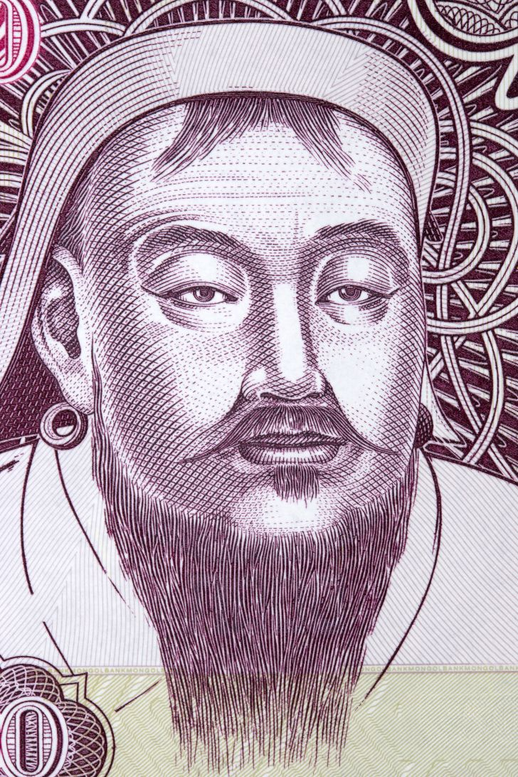 Picture of Genghis Khan on Mongolian money.