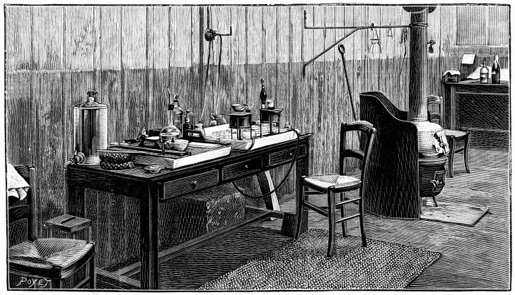 An illustration of Pierre and Marie Curie's laboratory.