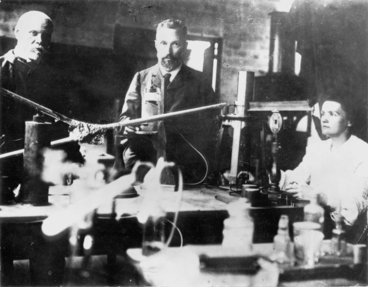 A photo of Pierre and Marie Curie in their laboratory.