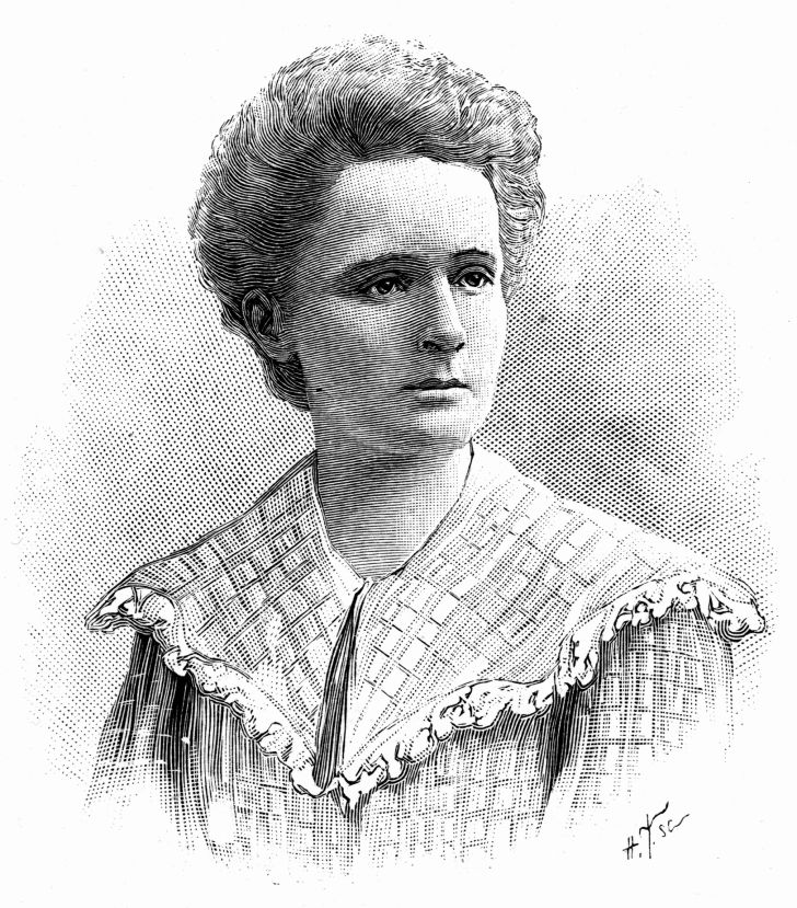 A portrait of Nobel Prize-winning physicist and chemist, Marie Curie.