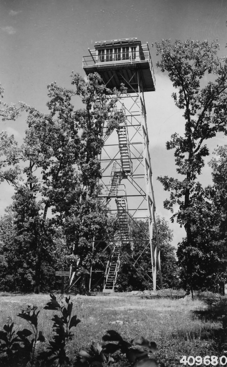A photo of a lookout tower from Mark Twain National Forest.