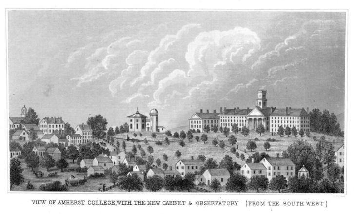 An illustration of Amherst College from 1848.