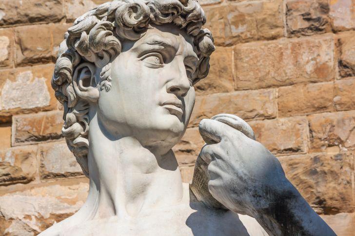 A replica of Michelangelo's statue of David.