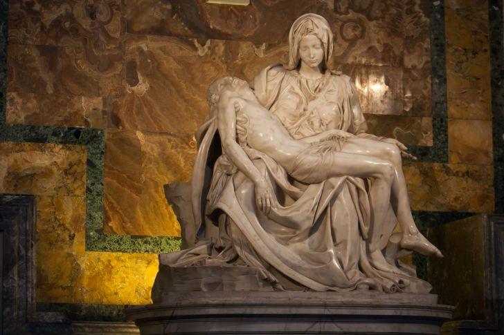 Michelangelo's Pieta statue in St. Peter's Basilica in Vatican City.