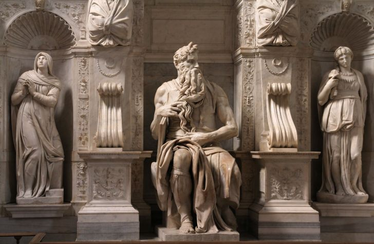 A photo of Michelangelo's Moses in Rome, Italy.
