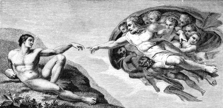 An illustration of Michelangelo's 'Creation of Adam.'
