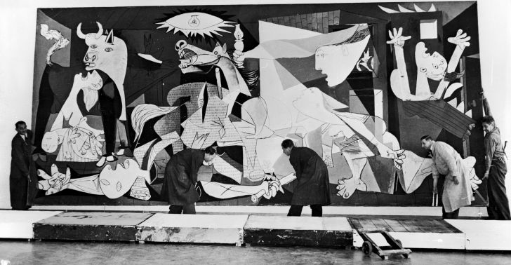 Artist Pablo Picasso's Guernicaon display in Amsterdam.