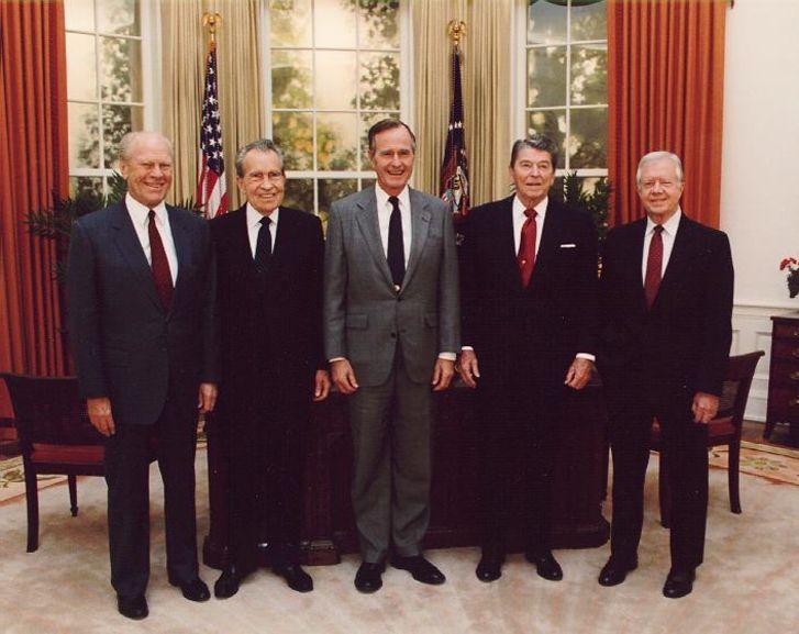 A photo of Gerald Ford, Richard Nixon, George H.W. Bush, Ronald Reagan, and Jimmy Carter.