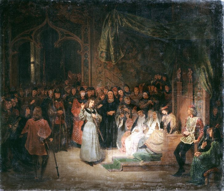 Joan of Arc and King Charles VII depicted in a painting.