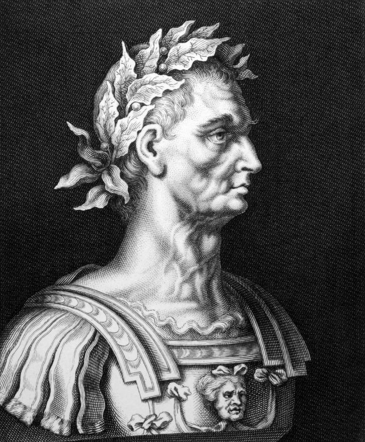 A black and white engraving of Julius Caesar from 1860