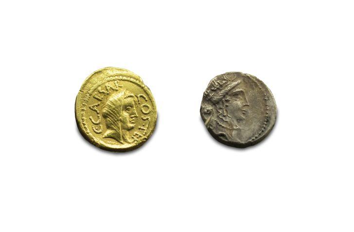 A photograph of Julius Caesar coins